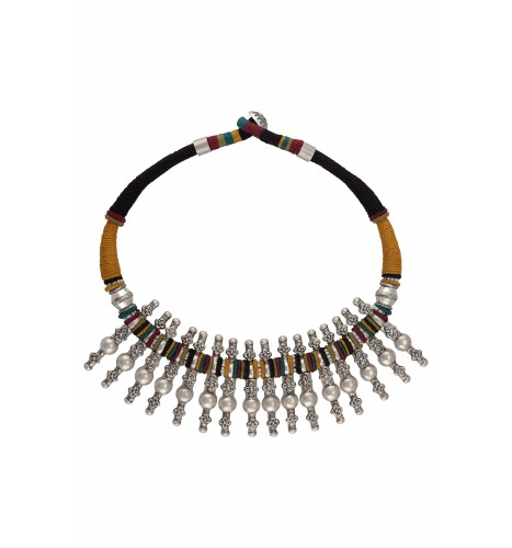 Silver Tribal Motif Colorful Thread Necklace