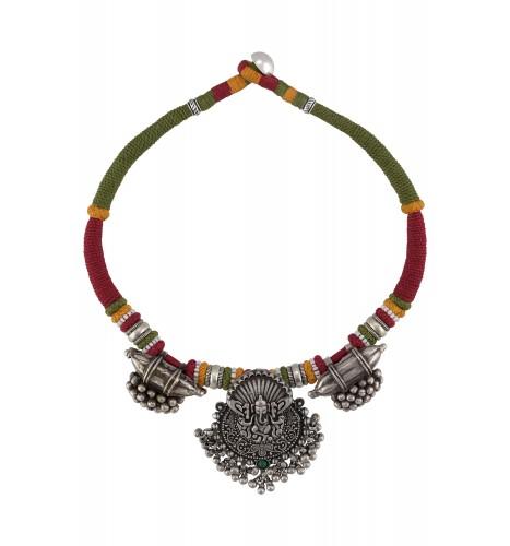 Silver Oxidised Ganesha Taveez Motif Ball Drop Thread Necklace