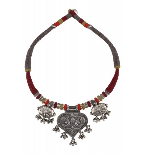 Silver Oxidised Peacock Motif Ball Drop Colorful Thread Necklace