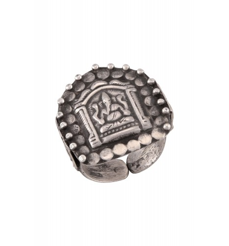 Silver Oxidised Ganesha Tribal Ring