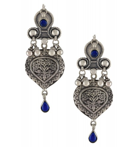 Silver Oxidised Floral Ball Drop Blue Glass Earrings