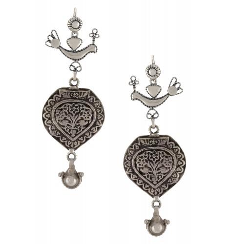 Silver Oxidised Peacock Floral Hook Earrings