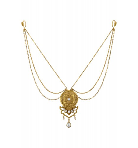 Silver Gold Plated Embossed Pearl Studded Necklace