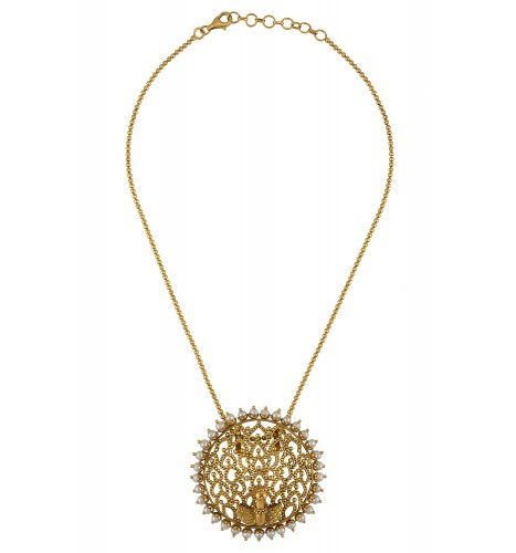 Silver Gold Plated Mayura Pearl Chain Pendant