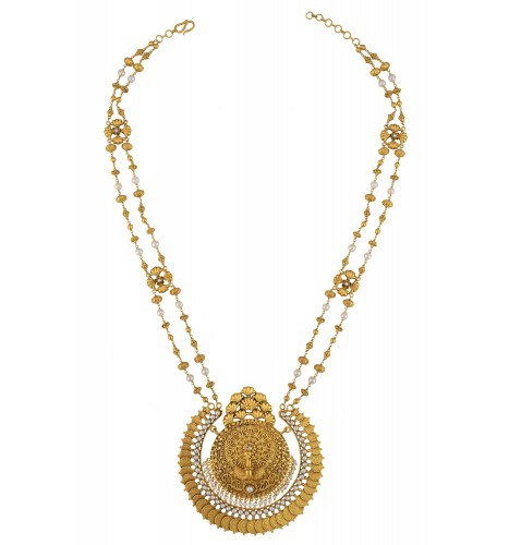 Silver Gold Plated Mayura Double Strand Statement Necklace
