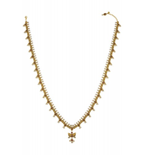 Silver Gold Plated Traditional Motif Glass Pearl Long Necklace