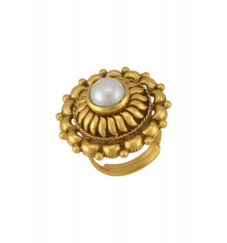 Silver Gold Plated Traditional Motif Pearl Studded Ring