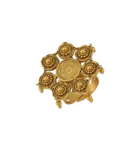 Silver Gold Plated Embossed Floral Bead Droplet Ring
