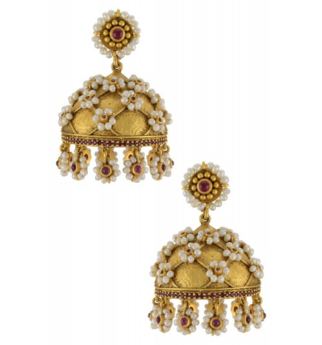 Silver Gold Plated Pearl Flower Jhumka Earrings