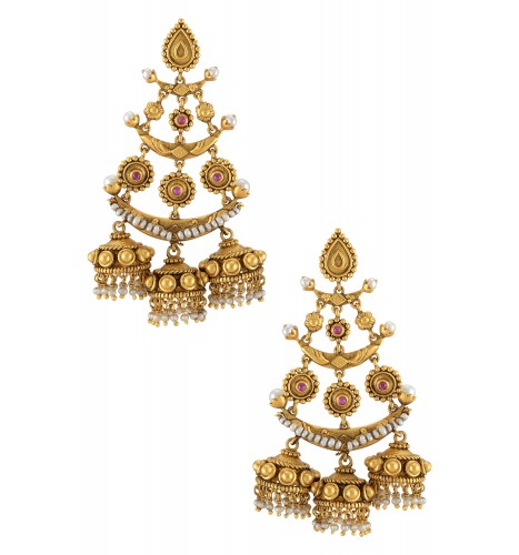 Silver Gold Plated Pear Moon Triple Drop Earrings