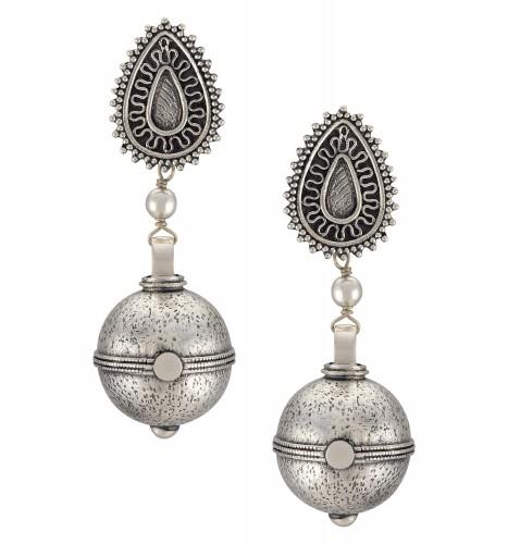 Silver Oxidised Pear Textured Ball Drop Earrings