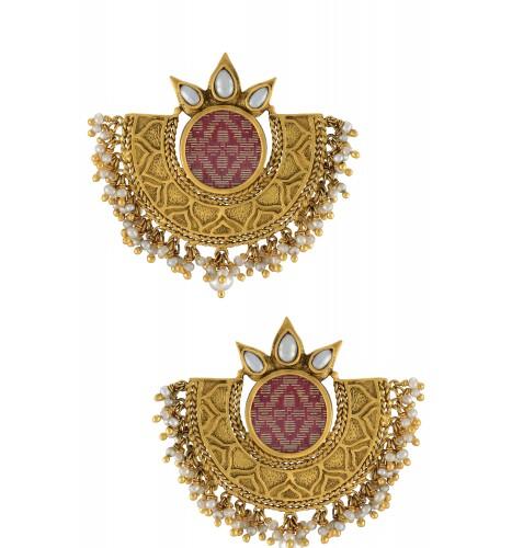 Silver Gold Plated Zari Embellishment Earrings