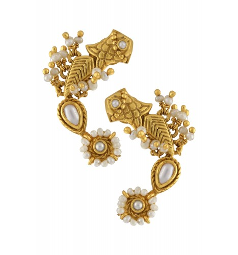 Silver Gold Plated Fish Floral Pearl Earrings