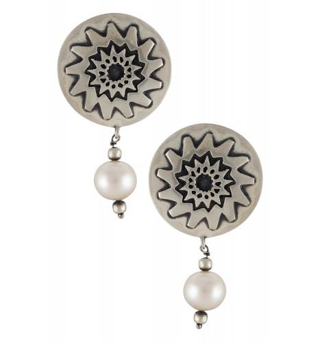 Silver Oxidised Flower Disc Pearl Ear Studs