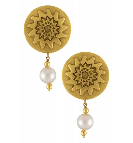 Silver Gold Plated Flower Disc Pearl Ear Studs