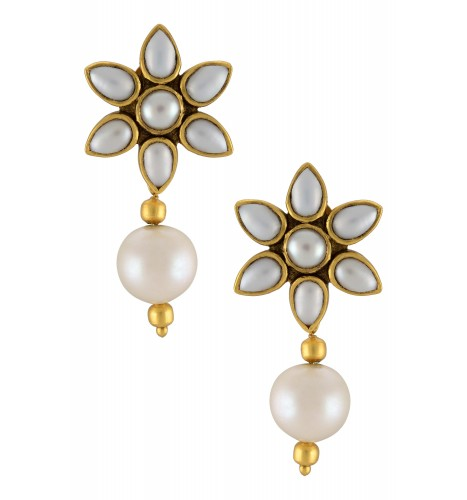 Silver Gold Plated Pearl Flower Earrings