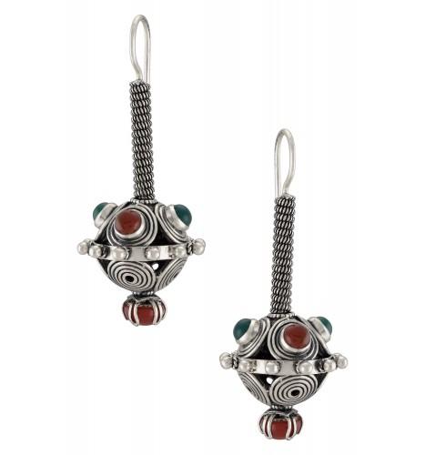 Silver Oxidised Filigree Red Green Onyx Ball Hook Earrings