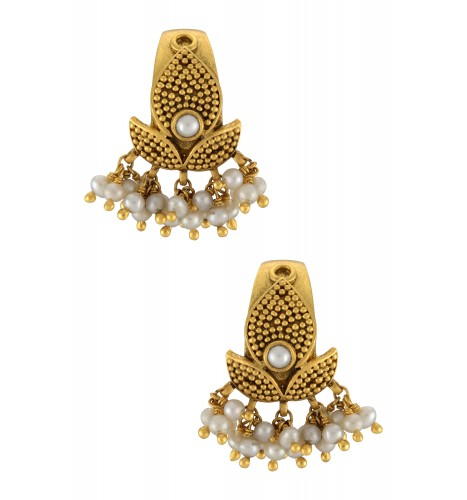 Silver Gold Plated Rawa Lotus Pearl Cluster Earrings