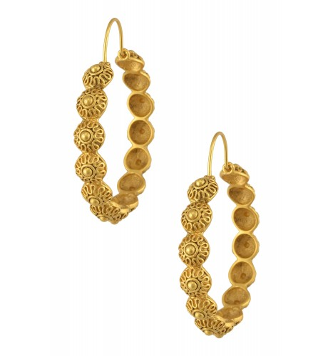 Silver Gold Plated Filigree Dome Hoop Earrings