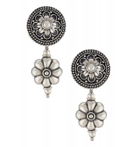 Silver Oxidised Embossed Floral Bead Drop Earrings