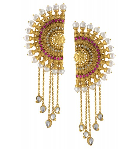 Silver Gold Plated Glass Pearl Chakra Mango Ear Cuffs