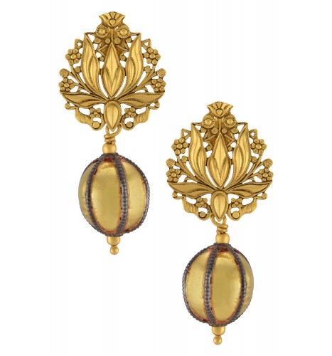 Silver Gold Plated Lotus Ball Drop Earrings