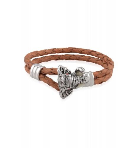 Silver Elephant Head Hook Tan Braided Leather Bracelet