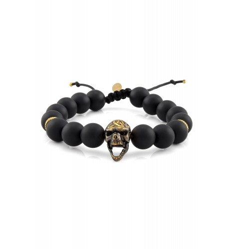 Silver Dual Tone Skull Frosted Black Onyx Beaded Bracelet