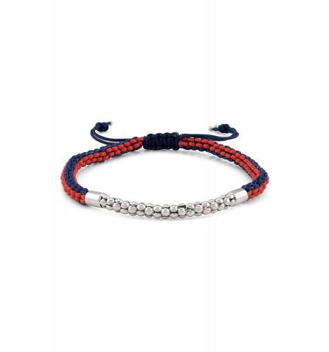 Silver Popcorn Textured Navy Red Bracelet
