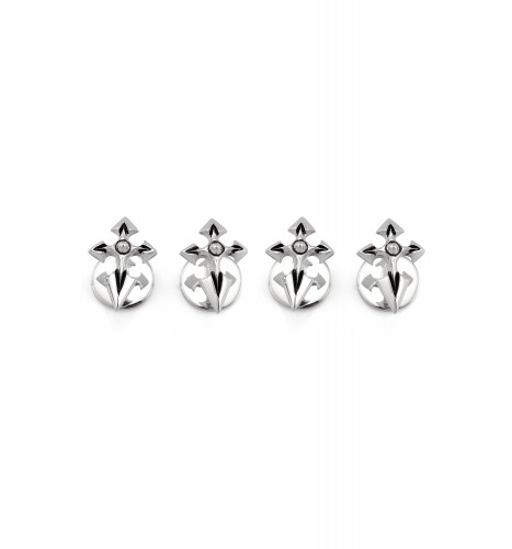 Silver Spiked Cross Buttons