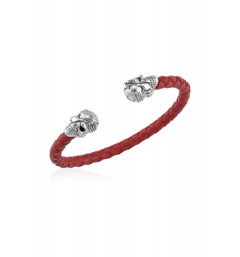 Silver Pirate Skull Red Leather Braided Cuff