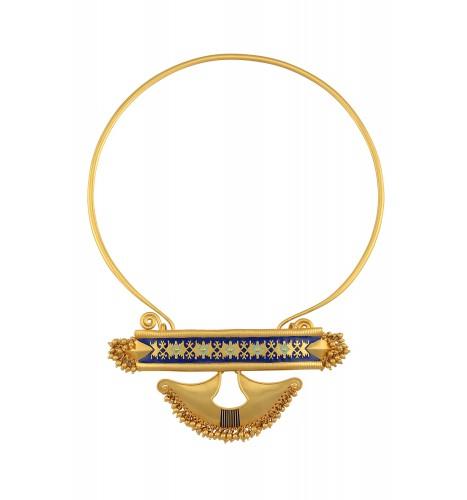 Silver Gold Plated Abstract Rawa Enamel Hasli