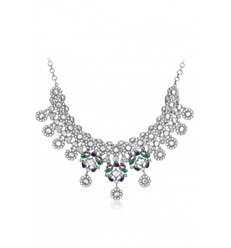 Silver Glass Floral Peacock Drop Necklace