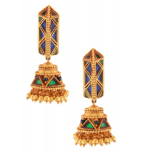 Gold Plated Blue Green Glass Ball Drop Jhumka