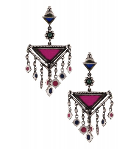 Silver Plated Colored Glass Pyramid Enamelled Charms Drop Earrings