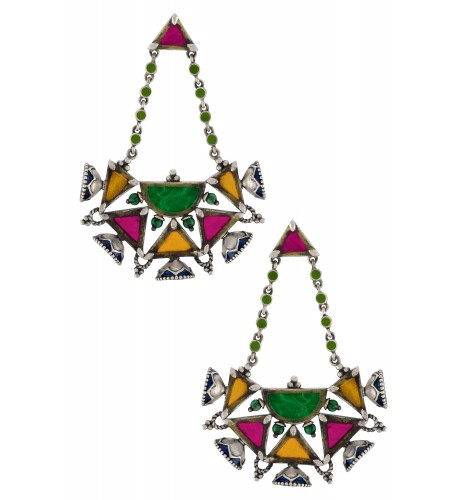 Silver Plated Multi Colored Glass Enamelled Earrings