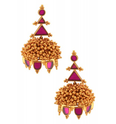 Gold Plated Pink Glass Rawa Ball Cluster Jhumka