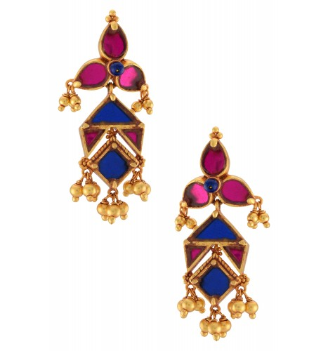Gold Plated Pink Blue Glass Ball Drop Floral Earrings