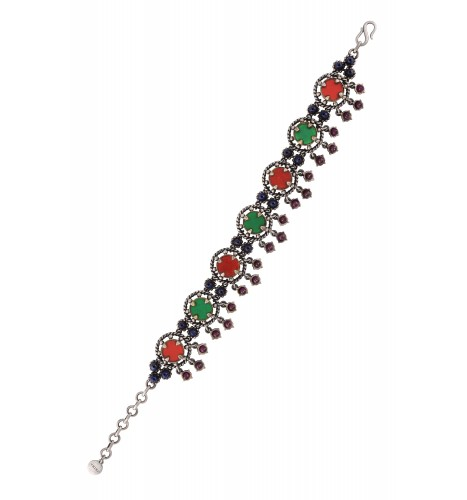 Silver Plated Red Green Glass Bracelet