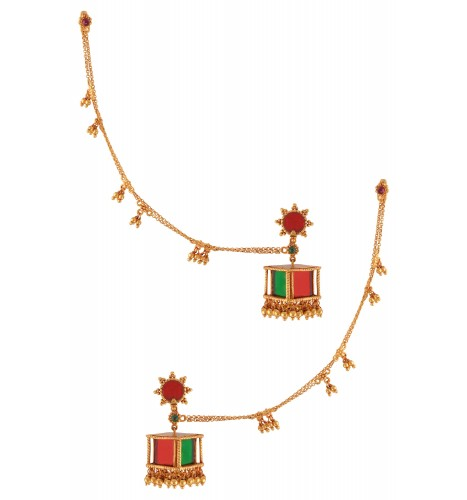 Gold Plated Colored Glass Hair Chain Ball Drop Square Jhumka