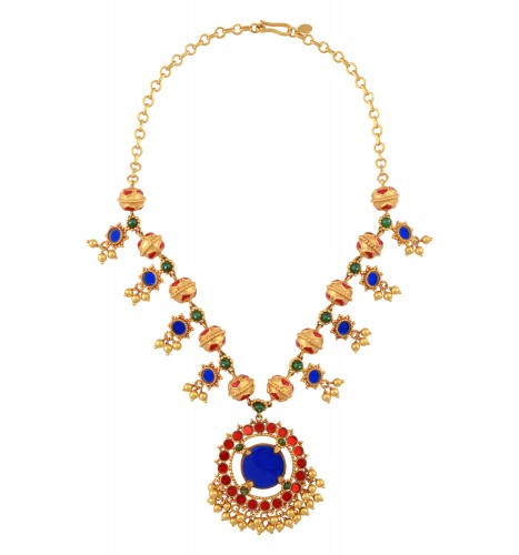 Gold Plated Lotus Rawa Bead Colored Glass Flower Necklace