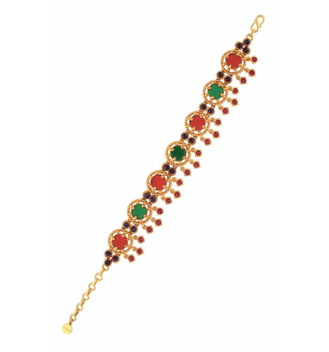 Gold Plated Red Green Glass Bracelet