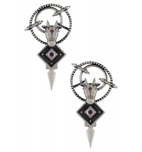 Purple Enamelled Nandi Rawa Front Back Earrings