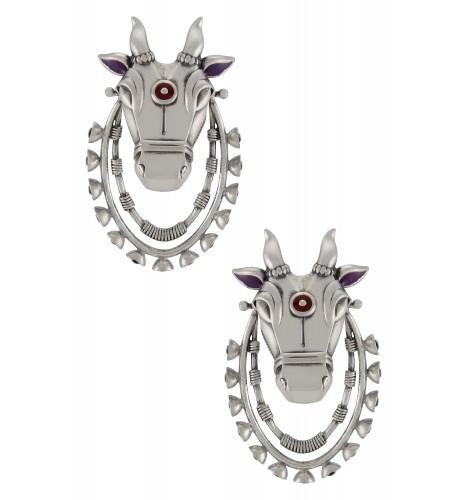 Purple Enamelled Nandi Dangle Hoop Earrings