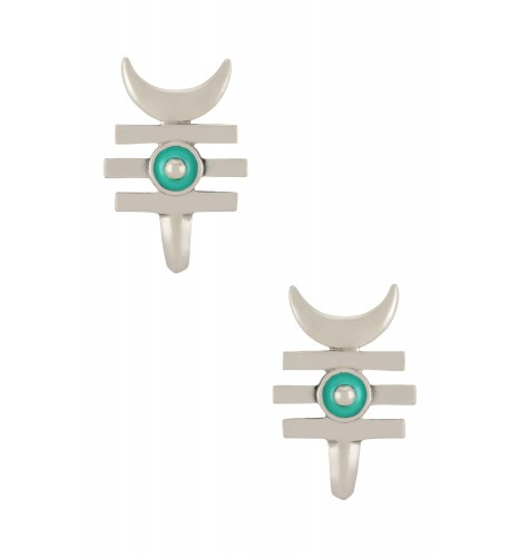 Turquoise Enamelled Third Eye Crescent Moon Ear Studs