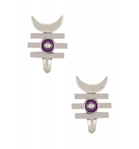 Purple Enamelled Third Eye Crescent Moon Ear Studs