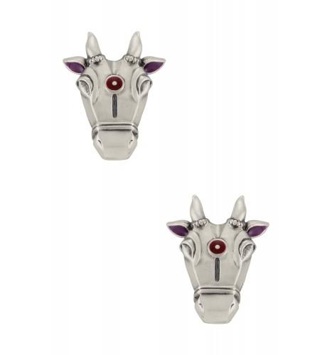 Purple Enamelled Silver Plated Nandi Small Ear Studs