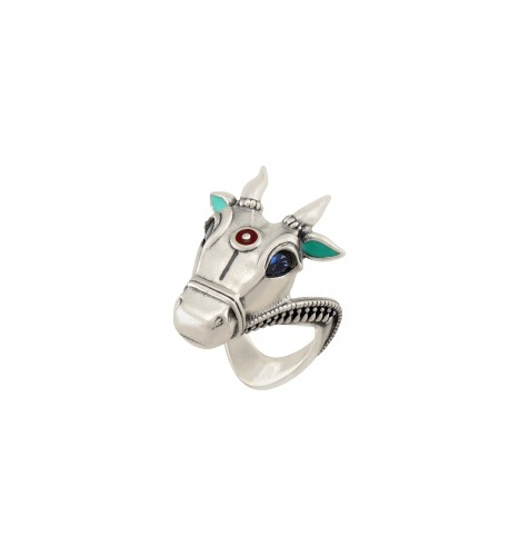 Turquoise Enamelled Silver Plated Blue Eyed Nandi Ring