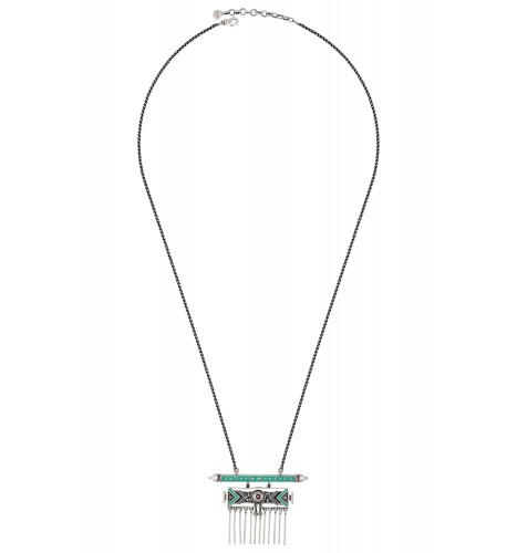 Turquoise Enamelled Taveez Tassel Necklace