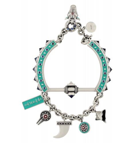 Turquoise Enamelled Shiva Detailed Charm Bracelet